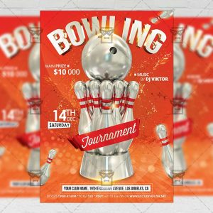 Download Bowling Tournament PSD Flyer Template Now