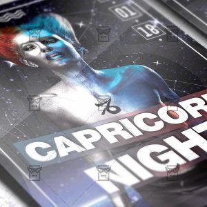 Download Capricorn Zodiac Night PSD Flyer Template Now