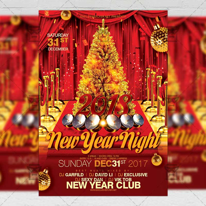 Download Gold New Year Night PSD Flyer Template Now