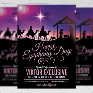 Download Happy Epiphany Day Free Seasonal A5 Flyer PSD Template Now