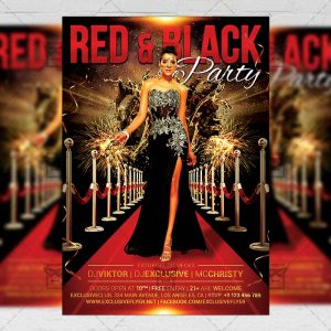 Download Red and Black Party PSD Flyer Template Now