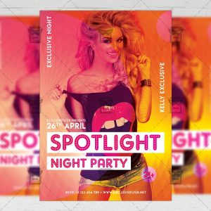 Download Spotlight Night Party PSD Flyer Template Now