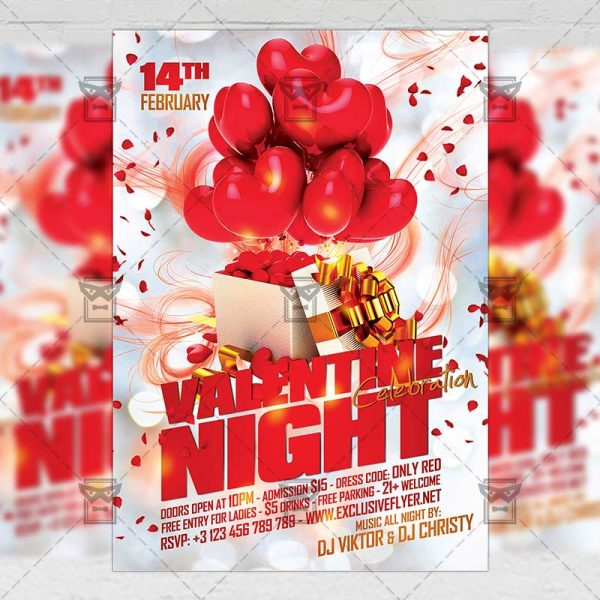 Download Valentines Night Celebration PSD Flyer Template Now