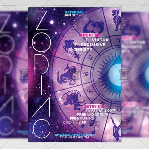 Download Zodiac Party Night PSD Flyer Template Now
