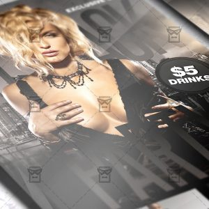 Download All Black Party PSD Flyer Template Now