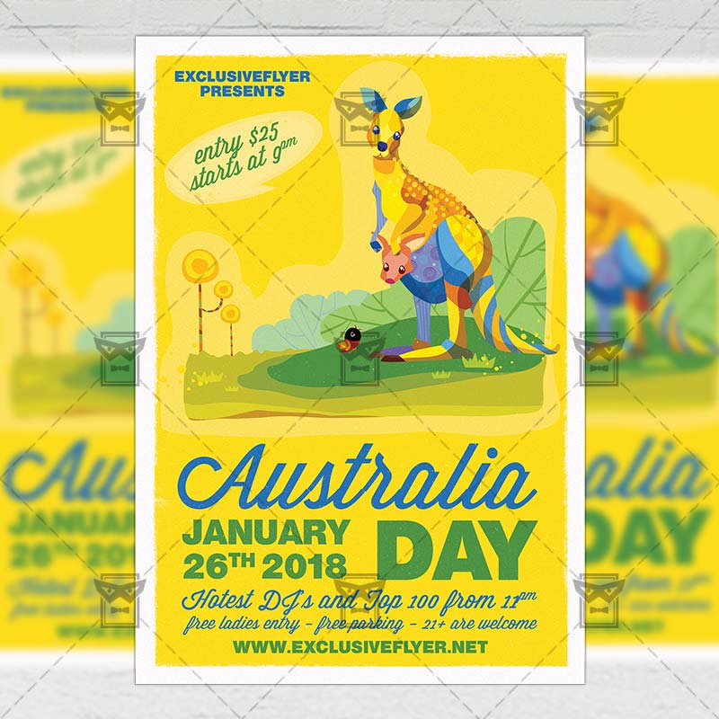 australia independence day party seasonal a5 flyer template