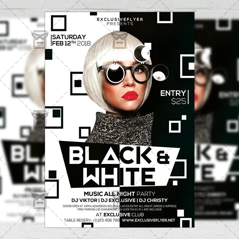 black and white party club a5 flyer template exclsiveflyer