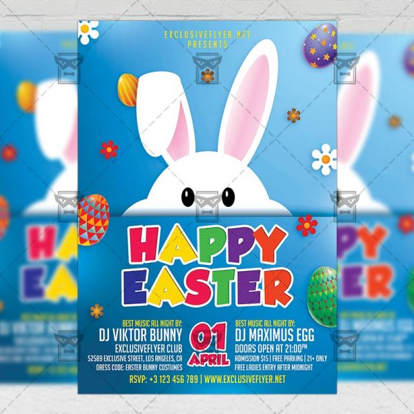 Download Happy Easter 2018 PSD Flyer Template Now