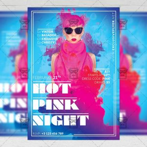 Download Hot Pink Night PSD Flyer Template Now
