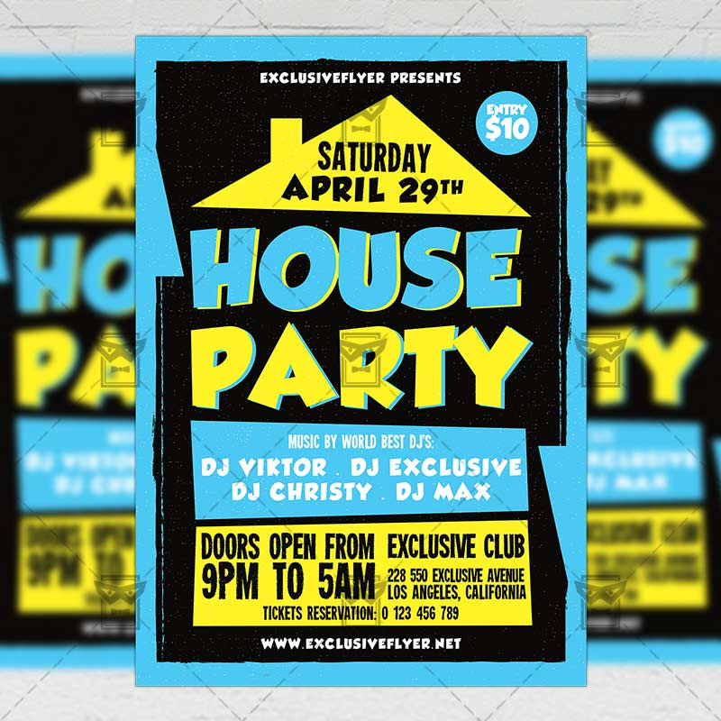 House Party – Club A5 Flyer Template