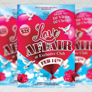 Download Love Affair PSD Flyer Template Now