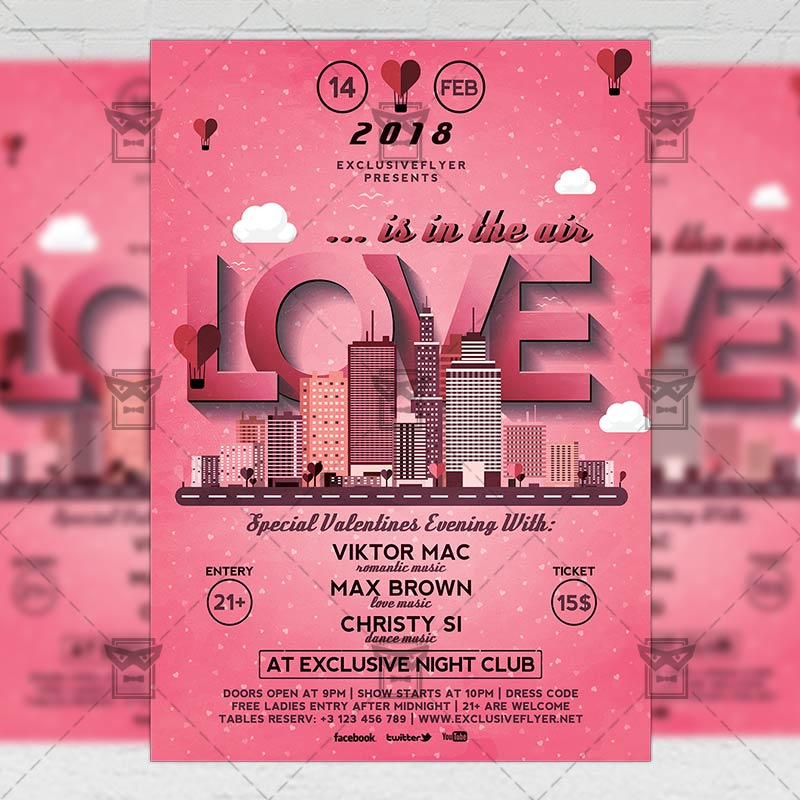 Love Is In The Air Seasonal A5 Flyer Template
