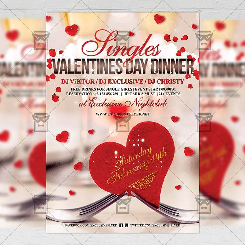 Singles Valentines Day Dinner Seasonal A5 Flyer Template