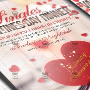 Download Singles Valentines Day Dinner PSD Flyer Template Now