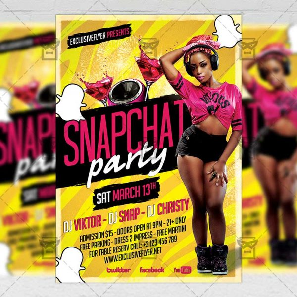 Download Snapchat Party PSD Flyer Template Now
