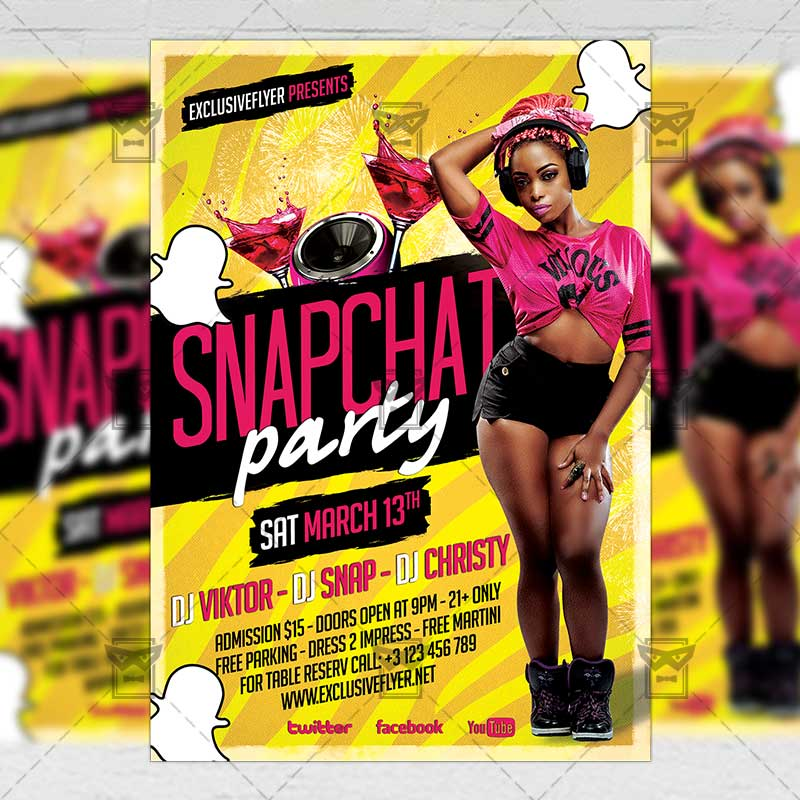 snapchat party club a5 flyer template exclsiveflyer free and premium psd templates. Black Bedroom Furniture Sets. Home Design Ideas