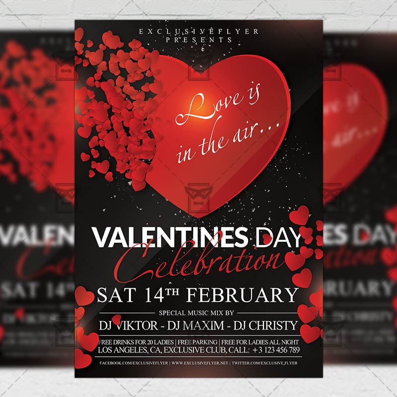 Download Valentines Day Celebration PSD Flyer Template Now
