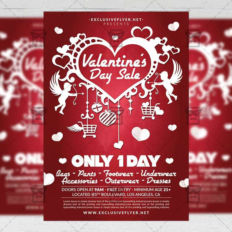 valentine s day sale seasonal a5 flyer template exclsiveflyer