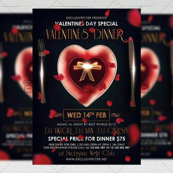 Download Valentines Dinner PSD Flyer Template Now