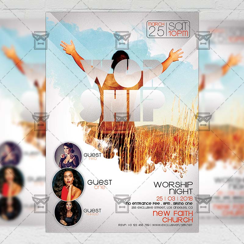worship night community a5 flyer template exclsiveflyer free