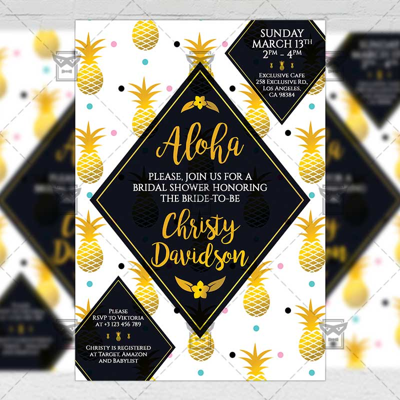 Bridal Shower Invitation A5 Card Template