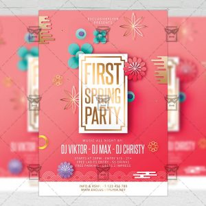 Download First Spring Party PSD Flyer Template Now