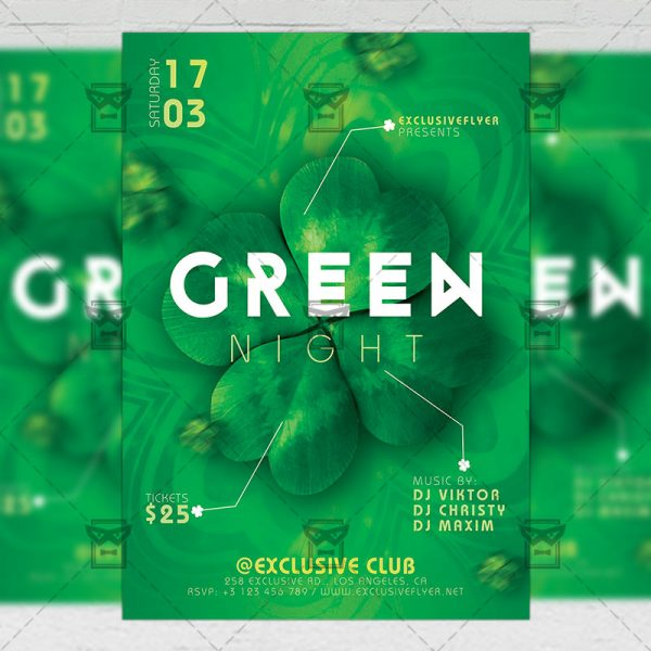 Download Green Night PSD Flyer Template Now