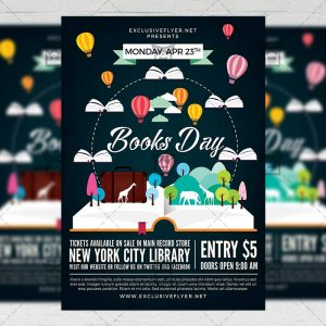 Download Happy Book Day PSD Flyer Template Now