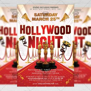 Download Hollywood Night PSD Flyer Template Now
