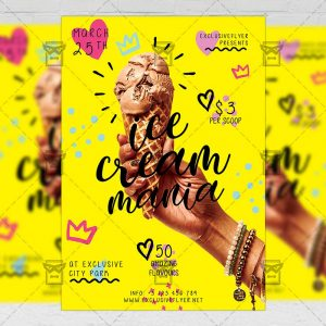 Download Ice Cream Mania PSD Flyer Template Now