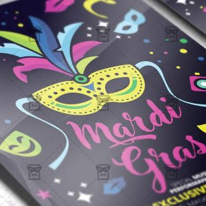 Download Mardi Gras Celebration PSD Flyer Template Now