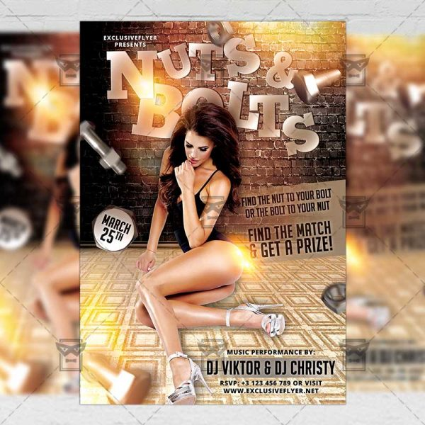 Download Nuts and Bolts Party PSD Flyer Template Now