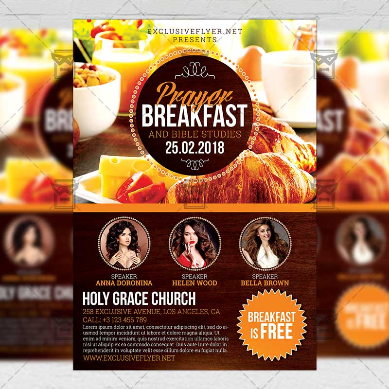 Prayer Breakfast Church A5 Flyer Template Exclsiveflyer Free