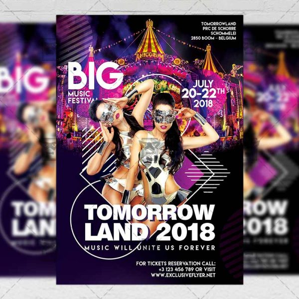 Download Tomorrowland Festival PSD Flyer Template Now