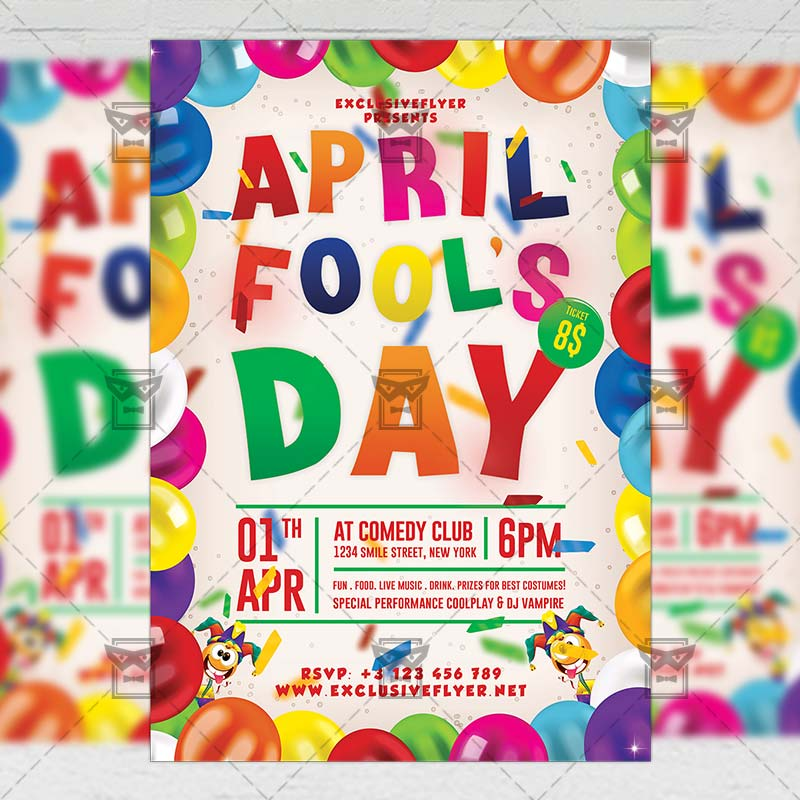 Mom Day Sale Ͽ� Seasonal A5 Flyer Template: April Fool's Day Celebration