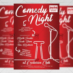 Download Comedy Night Show PSD Flyer Template Now