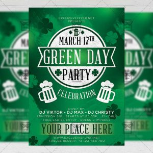 Download Green Day Party PSD Flyer Template Now