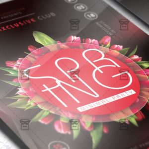 Download Minimal Spring Party PSD Flyer Template Now