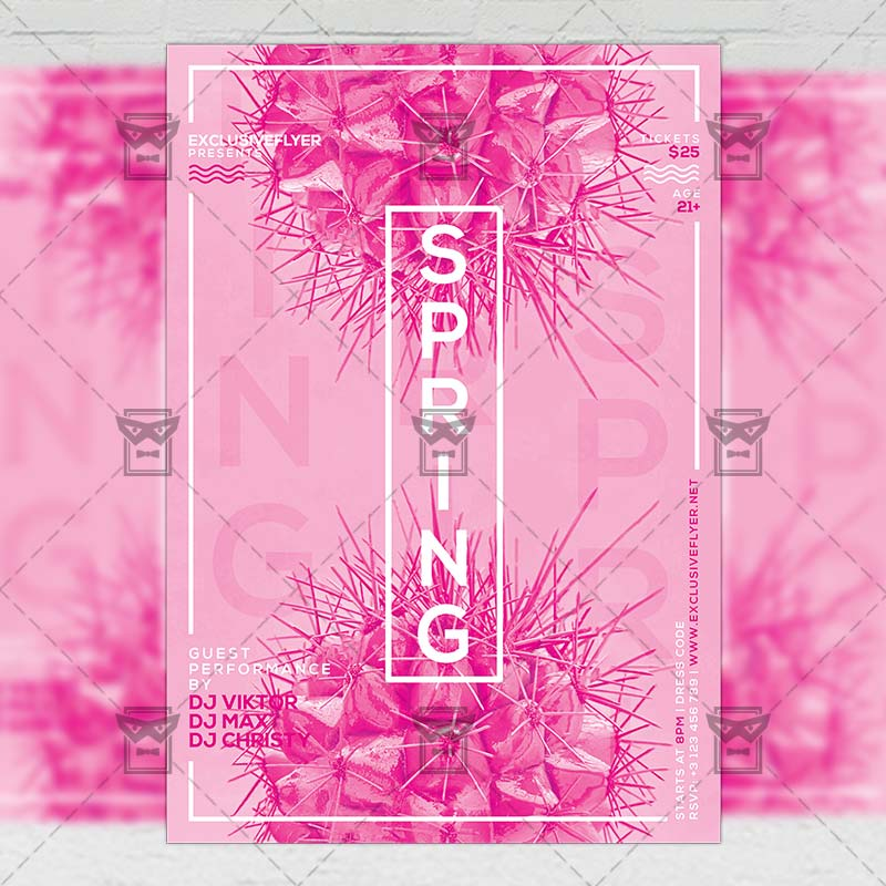 Spring Pop Art Party – Seasonal A5 Flyer Template | ExclsiveFlyer ...