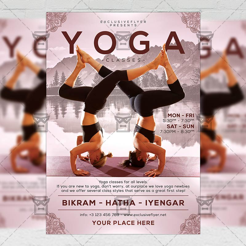 Exclusive Yoga Classes Sport A5 Flyer Template Exclsiveflyer Free And Premium Psd Templates