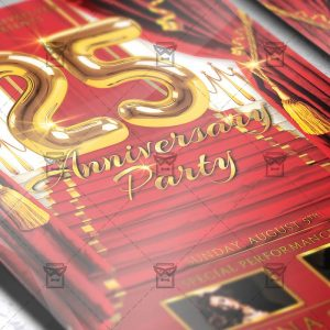 Download 25 Anniversary Party PSD Flyer Template Now