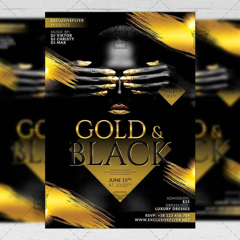 Gold And Black Party Club A5 Flyer Template Exclsiveflyer Free