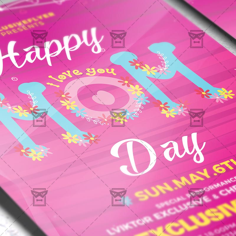 Mothers Day Sale Flyer Psd Template: Happy Mom Day €� Seasonal A5 Flyer Template