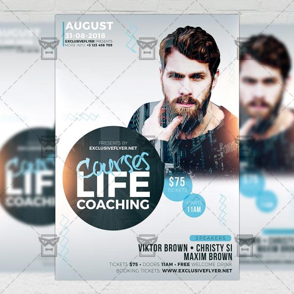Download Life Coaching Courses PSD Flyer Template Now