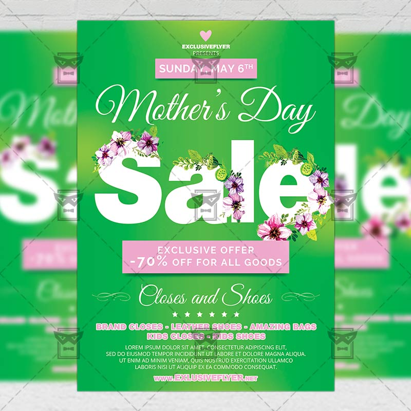 Mothers Day Brunch V2 Flyer Template: Mom Day Sale €� Seasonal A5 Flyer Template