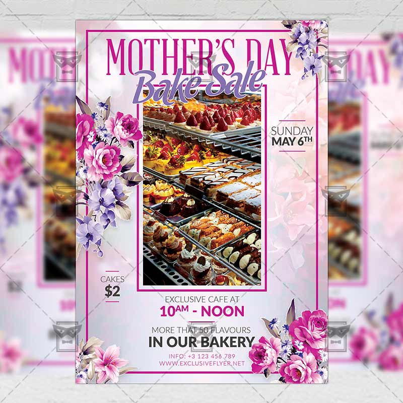 Mothers Day Lunch Flyer Psd Template: Seasonal A5 Flyer Template
