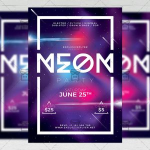Download Neon Party Flyer PSD Flyer Template Now