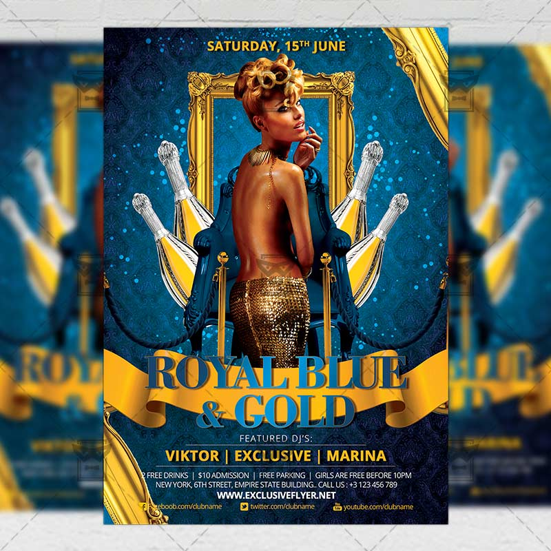 Royal Blue And Gold Party Club A5 Flyer Template Exclsiveflyer