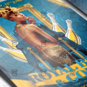 Download Royal Blue and Gold Party PSD Flyer Template Now