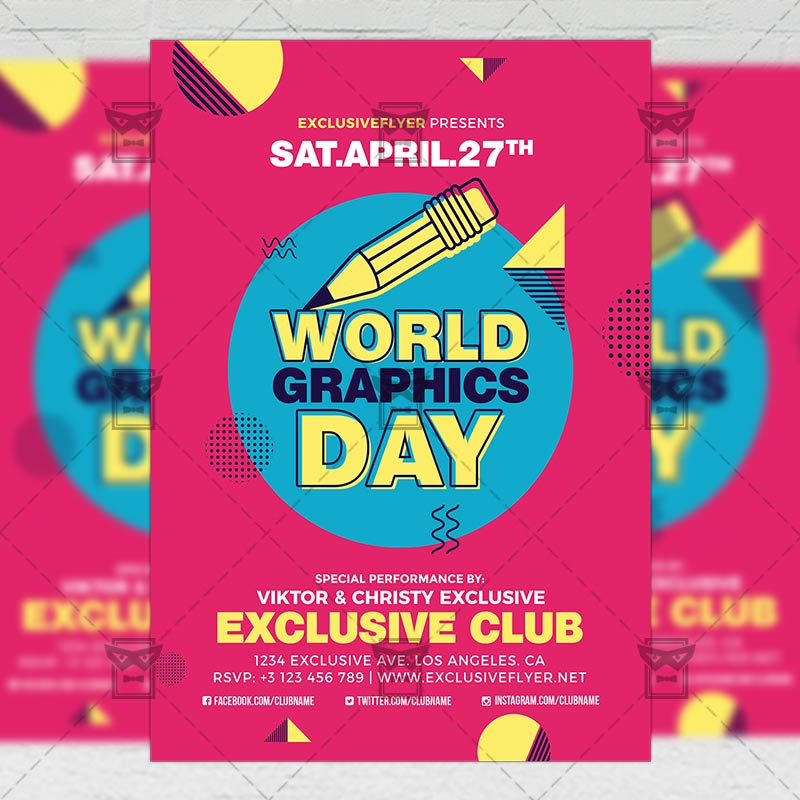 world graphics day community a5 flyer template exclsiveflyer